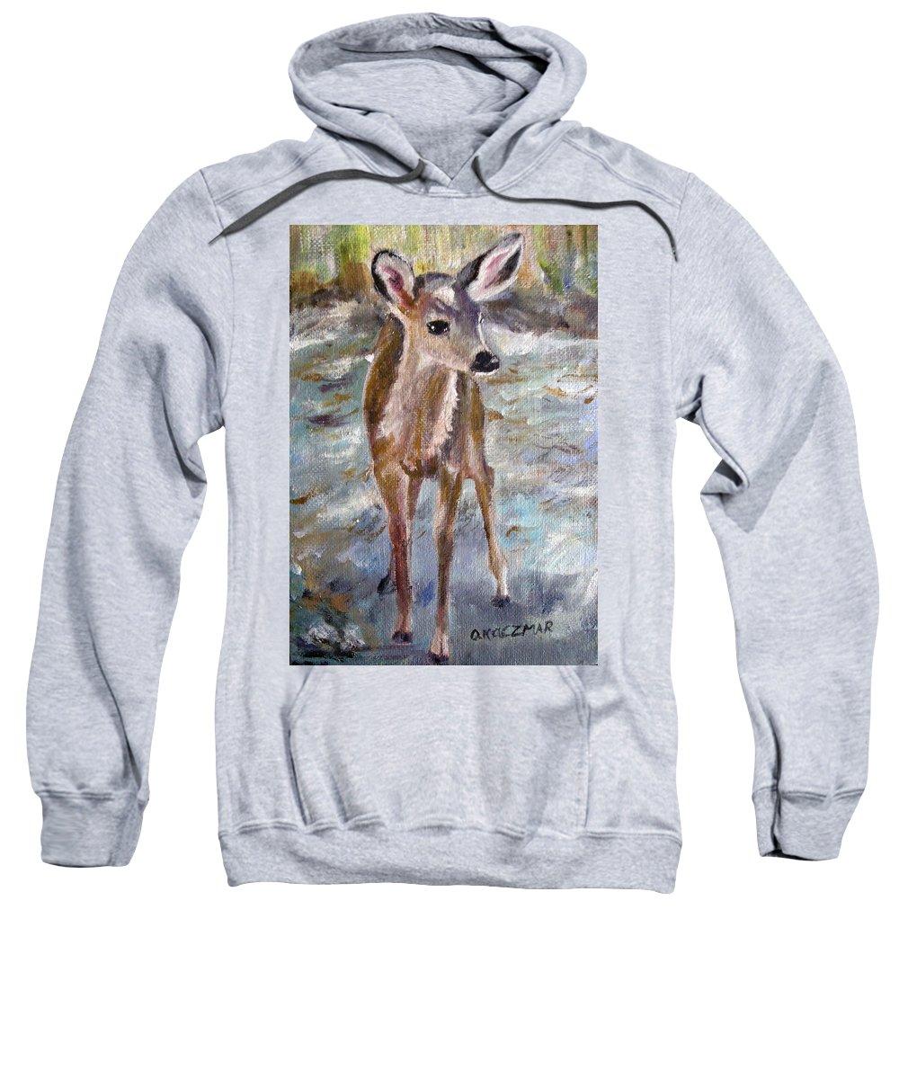 Fawn Sweatshirt featuring the painting Fawn by Olga Kaczmar