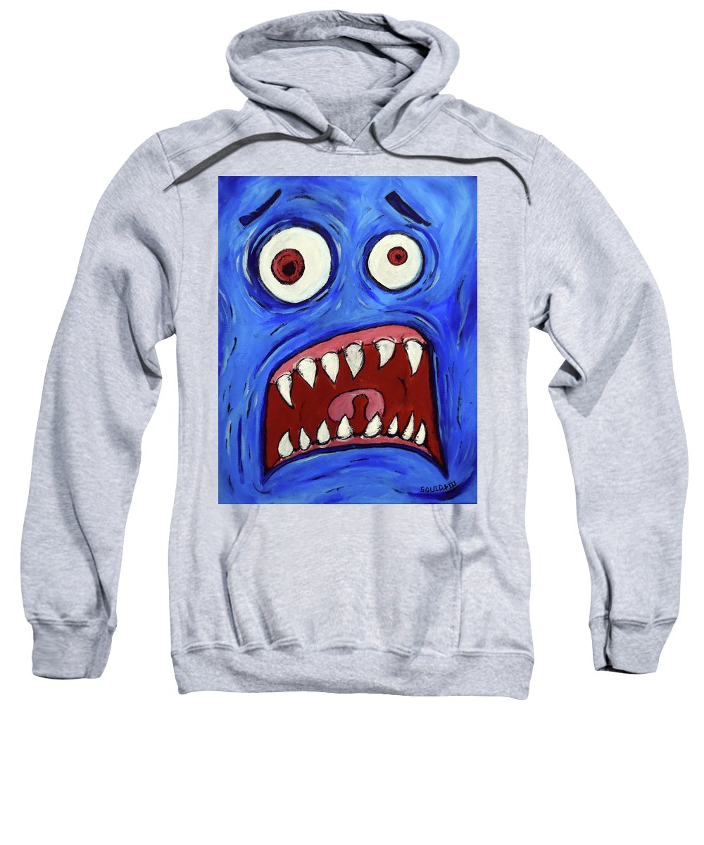 Sweatshirt featuring the painting Fear-potentiated Startle by Squid XIII