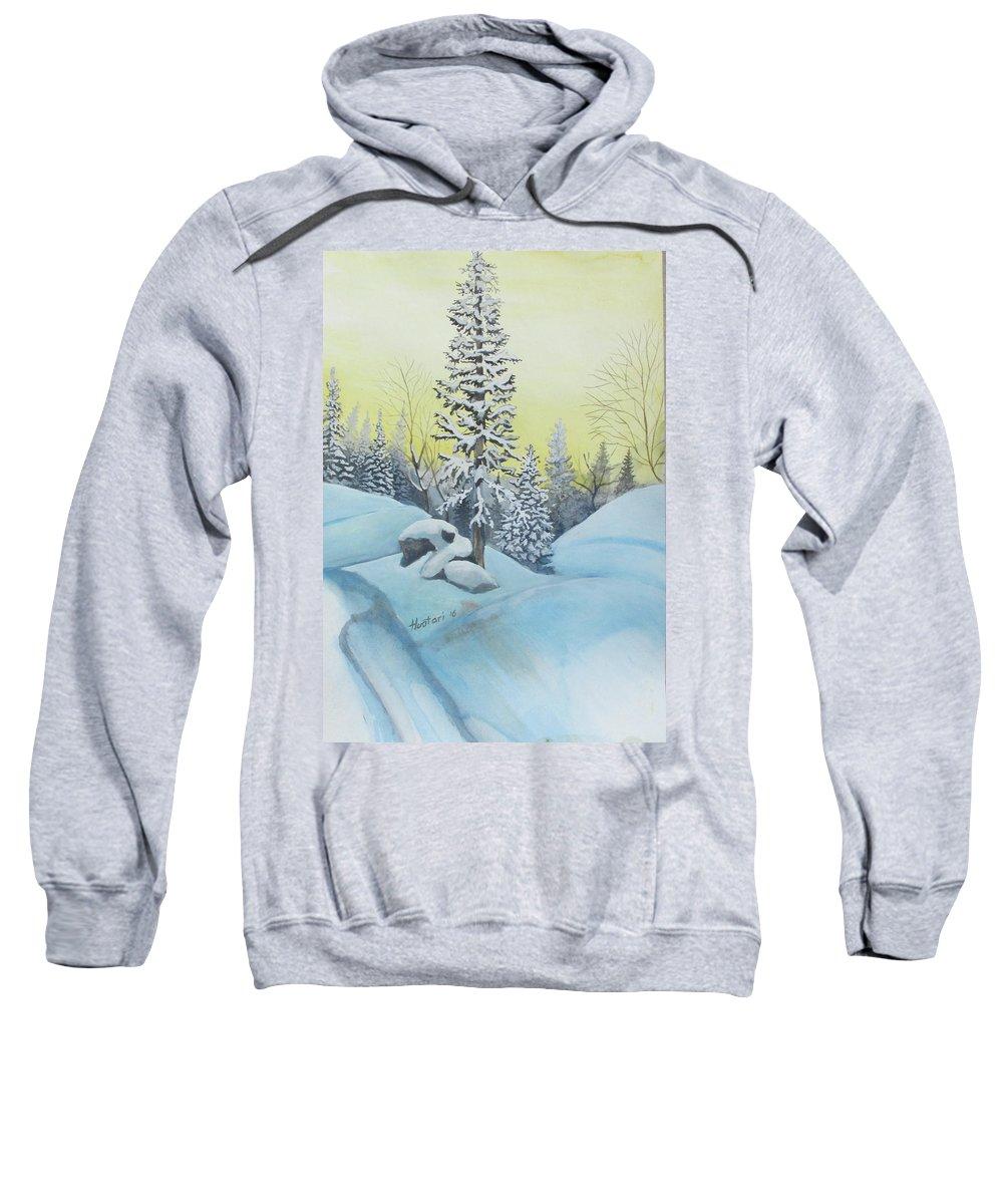 Winter Sweatshirt featuring the painting February Morning by Rick Huotari