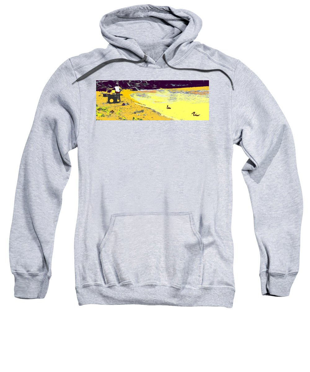 St Kitts Sweatshirt featuring the photograph Feeding The Pelicans by Ian MacDonald