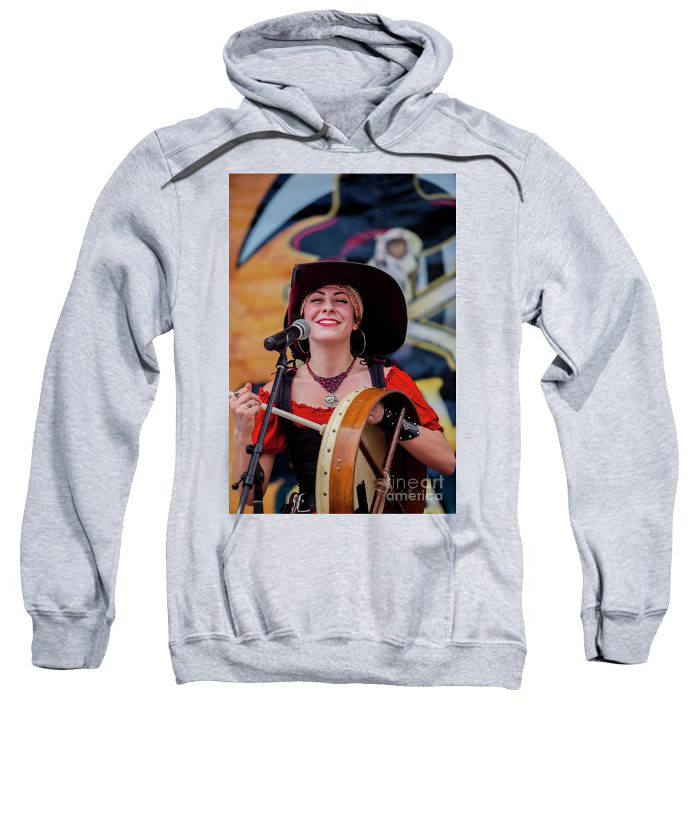 Female Sweatshirt featuring the photograph Female Stage Performer With Drum by Doug Berry