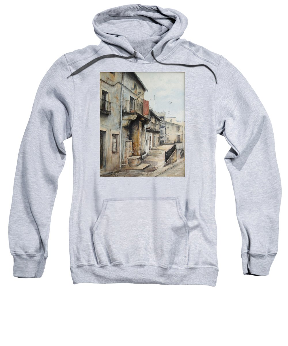 Fermoselle Zamora Spain Oil Painting City Scapes Urban Art Sweatshirt featuring the painting Fermoselle by Tomas Castano