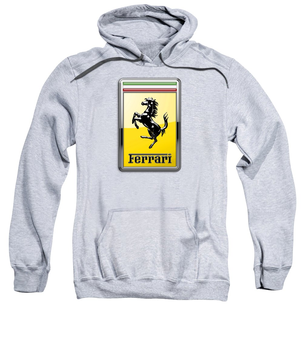 �auto Badges� Collection By Serge Averbukh Sweatshirt featuring the photograph Ferrari 3d Badge- Hood Ornament On Yellow by Serge Averbukh