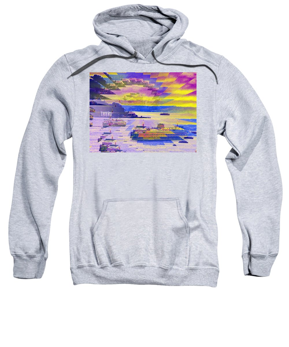 Seattle Sweatshirt featuring the photograph Ferries Off Alki by Tim Allen