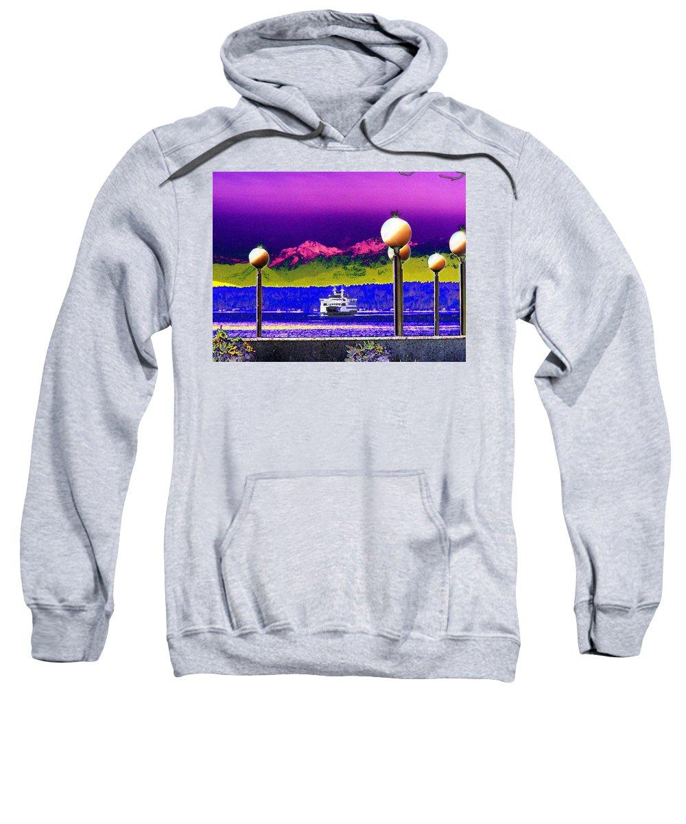 Seattle Sweatshirt featuring the digital art Ferry On Elliott Bay by Tim Allen