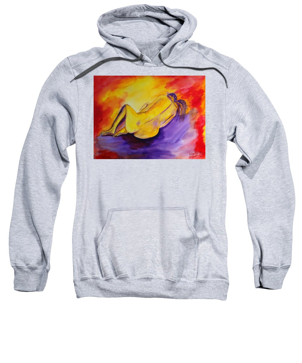 Woman Sweatshirt featuring the painting Fetal Position by Donna Blackhall