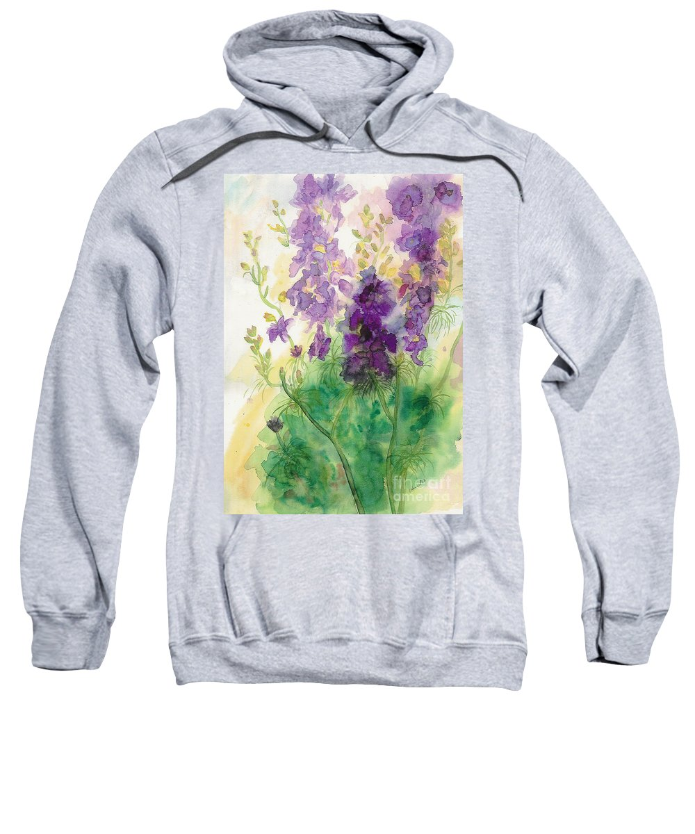 Watercolor Sweatshirt featuring the painting Field Of Purple by Vicki Housel