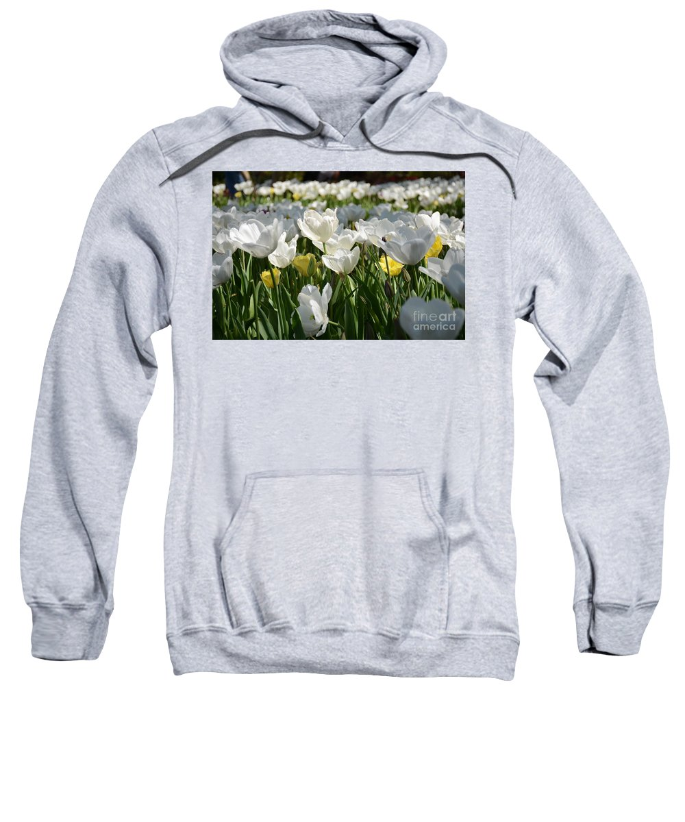 Sweatshirt featuring the painting Field Of White Tulips by Constance Woods