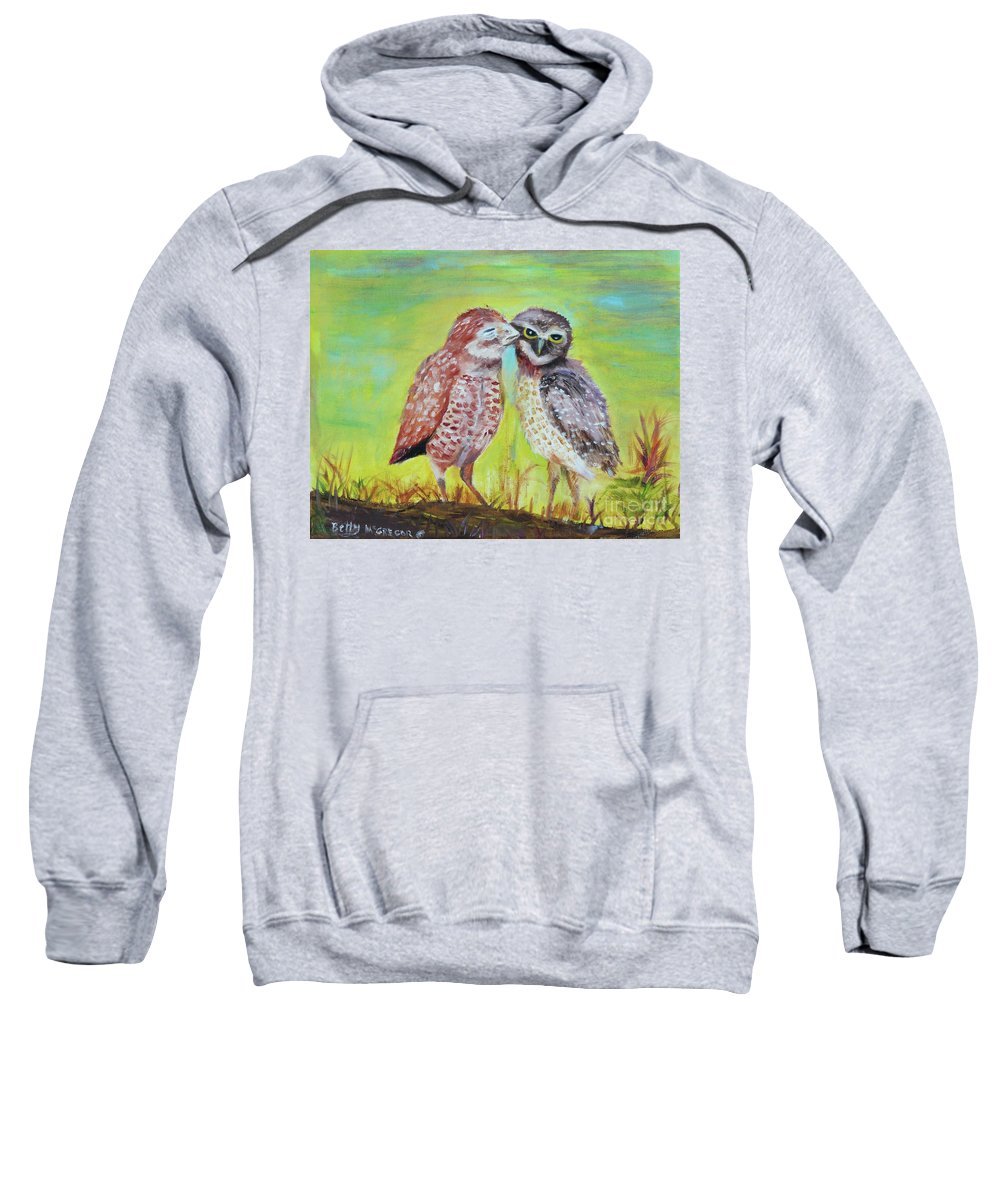 Field Sweatshirt featuring the painting Field Owls by Betty McGregor
