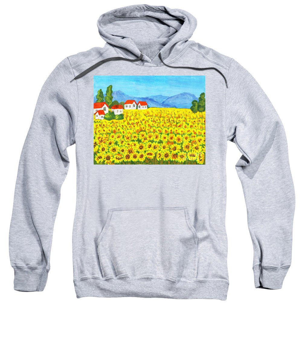 Art Sweatshirt featuring the painting Field With Sunflowers by Irina Afonskaya