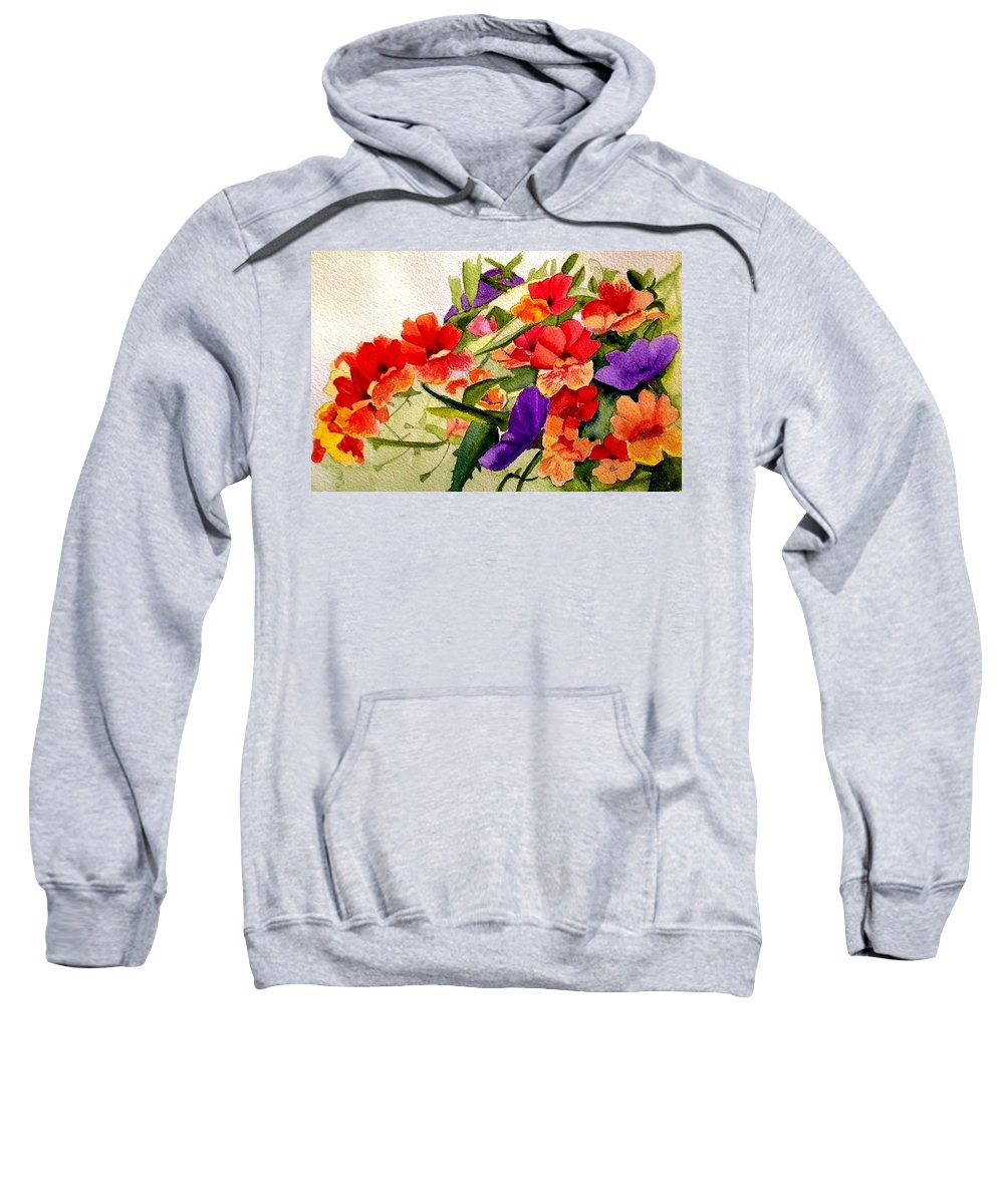 Petunia Sweatshirt featuring the painting Fiery by Nicole Curreri