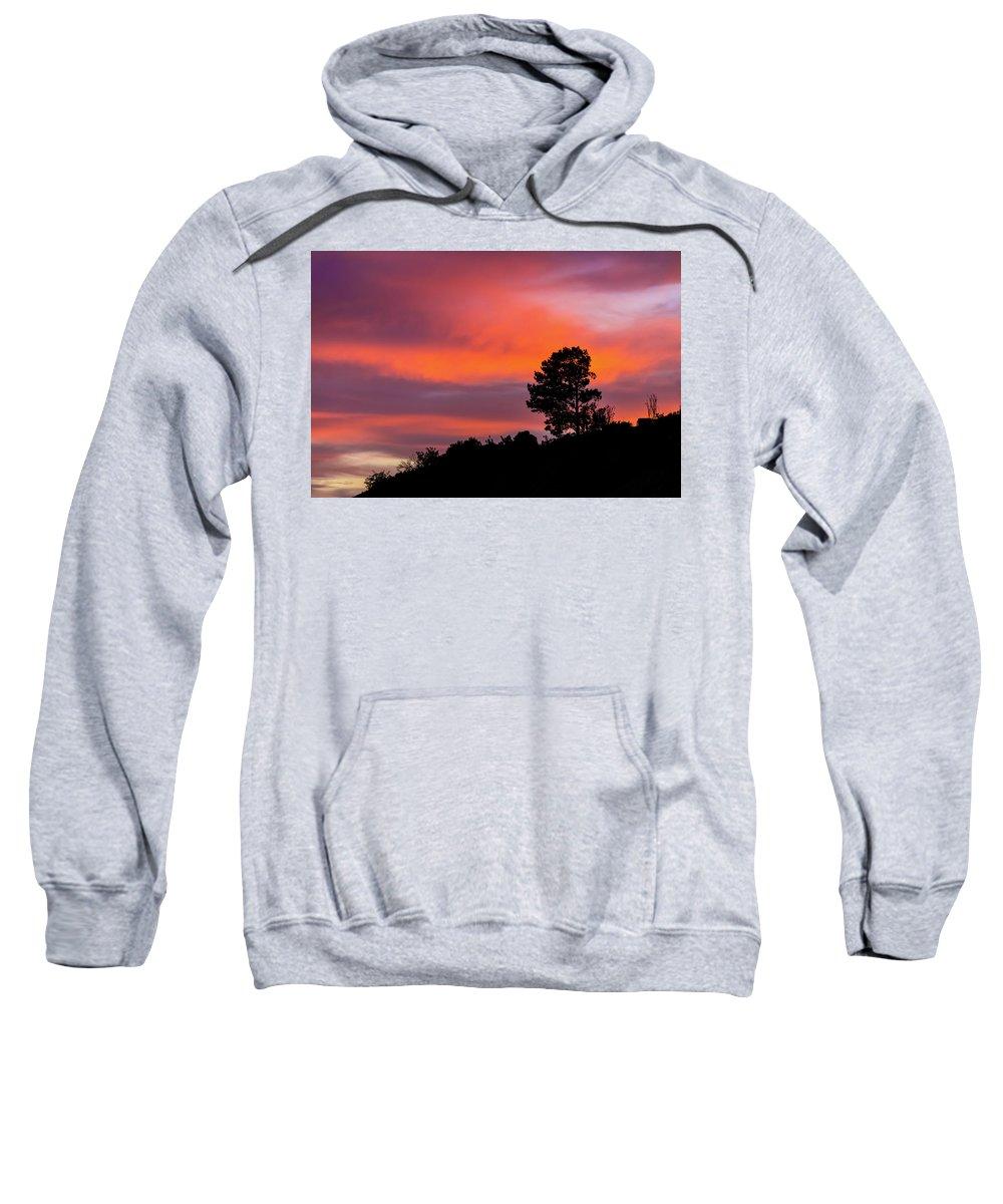 Sunset Sweatshirt featuring the photograph Fiery Sunset by Subhadra Burugula