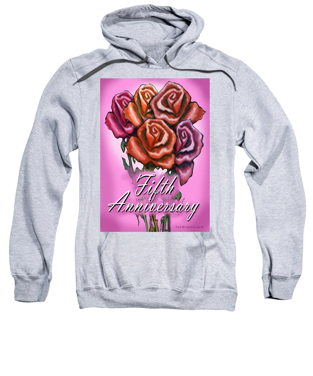 Fifth Sweatshirt featuring the greeting card Fifth Anniversary by Kevin Middleton