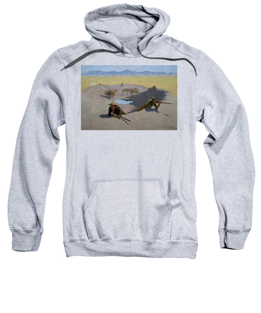 Gun Fight Sweatshirt featuring the painting Fight For The Waterhole by Frederic Sackrider Remington