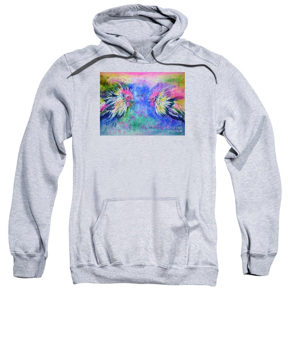 Roosters Sweatshirt featuring the painting Fighting Cocks by Zaira Dzhaubaeva
