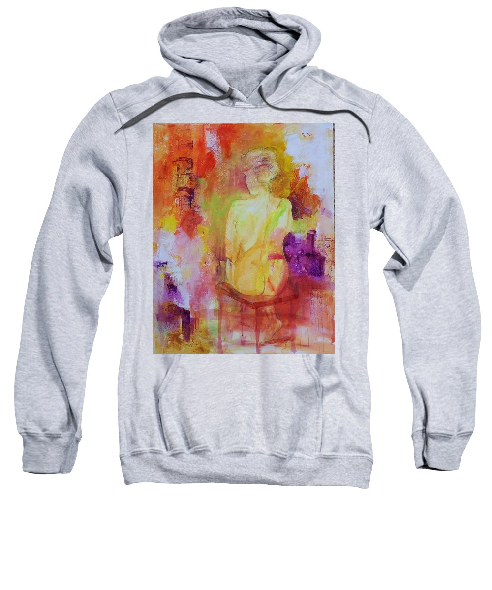 Abstract Expressionism Sweatshirt featuring the painting Figure Study 019 by Donna Frost