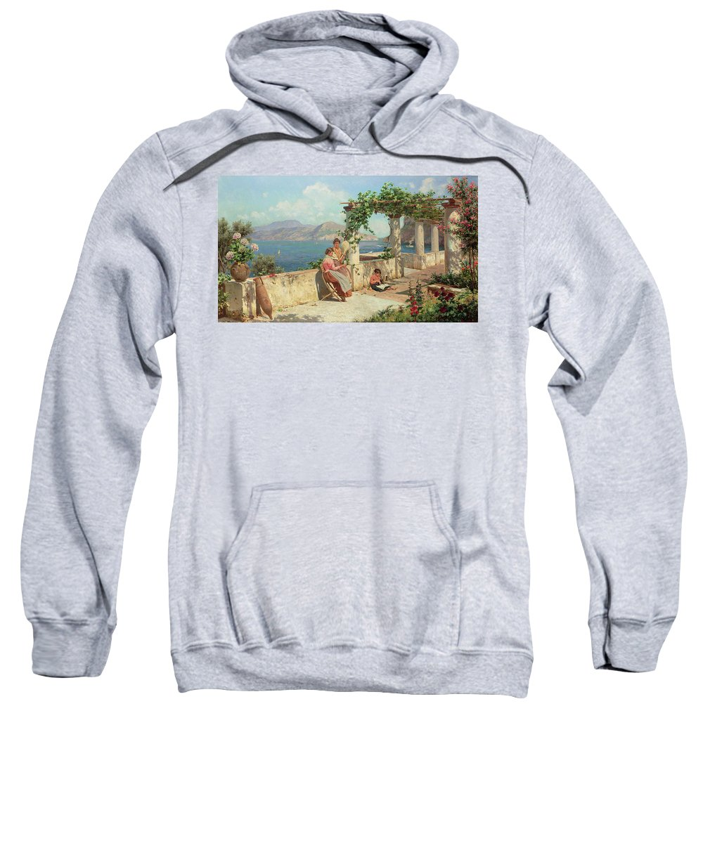 Italian Landscape; Female; Women; Child; Arbour; Azelia; Loggia; Sunshine; Spinning; Sea; Amalfi; Pergola; Treille Sweatshirt featuring the painting Figures On A Terrace In Capri by Robert Alott