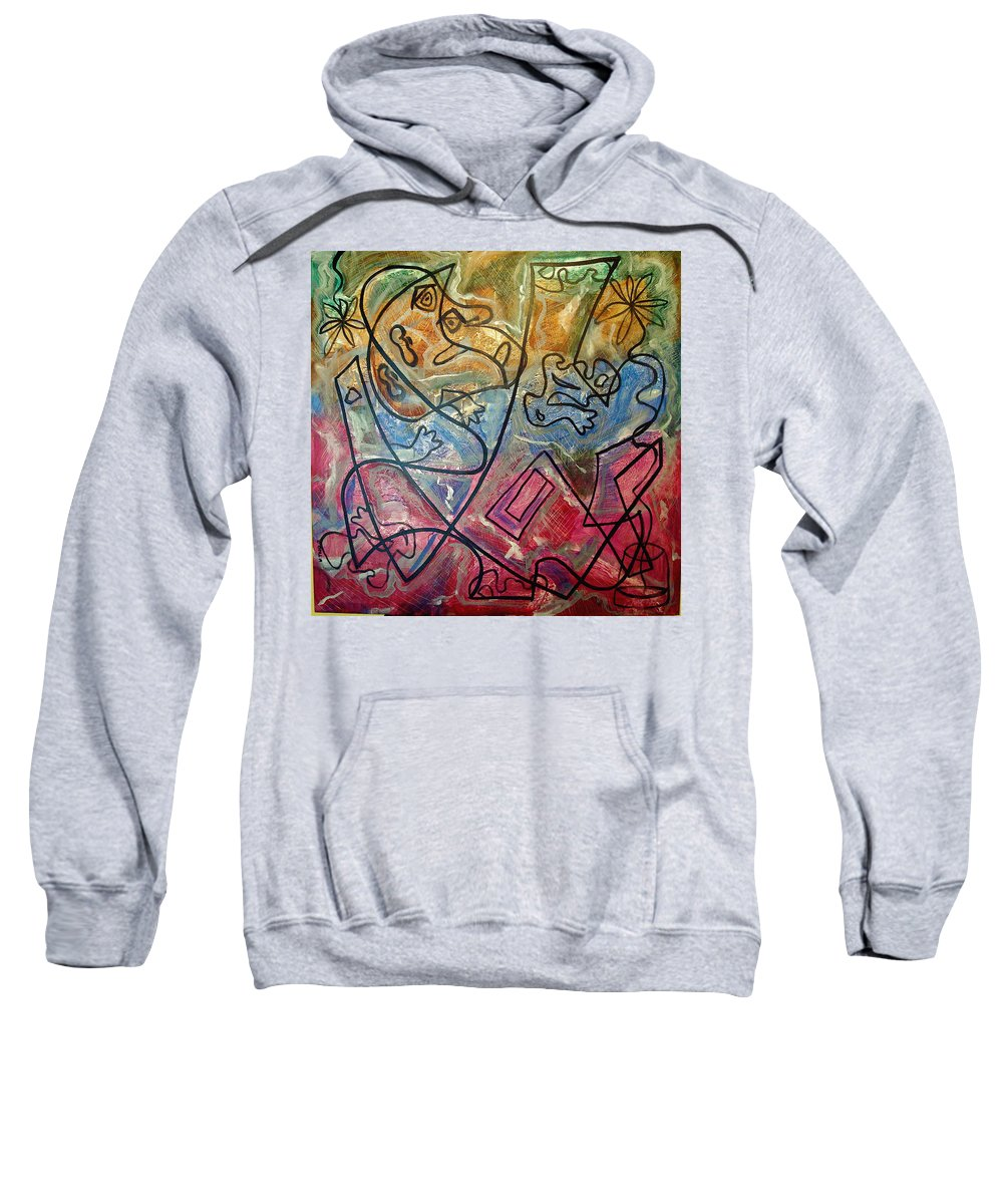 Modern Abstract Sweatshirt featuring the painting Finding Sun by W Todd Durrance