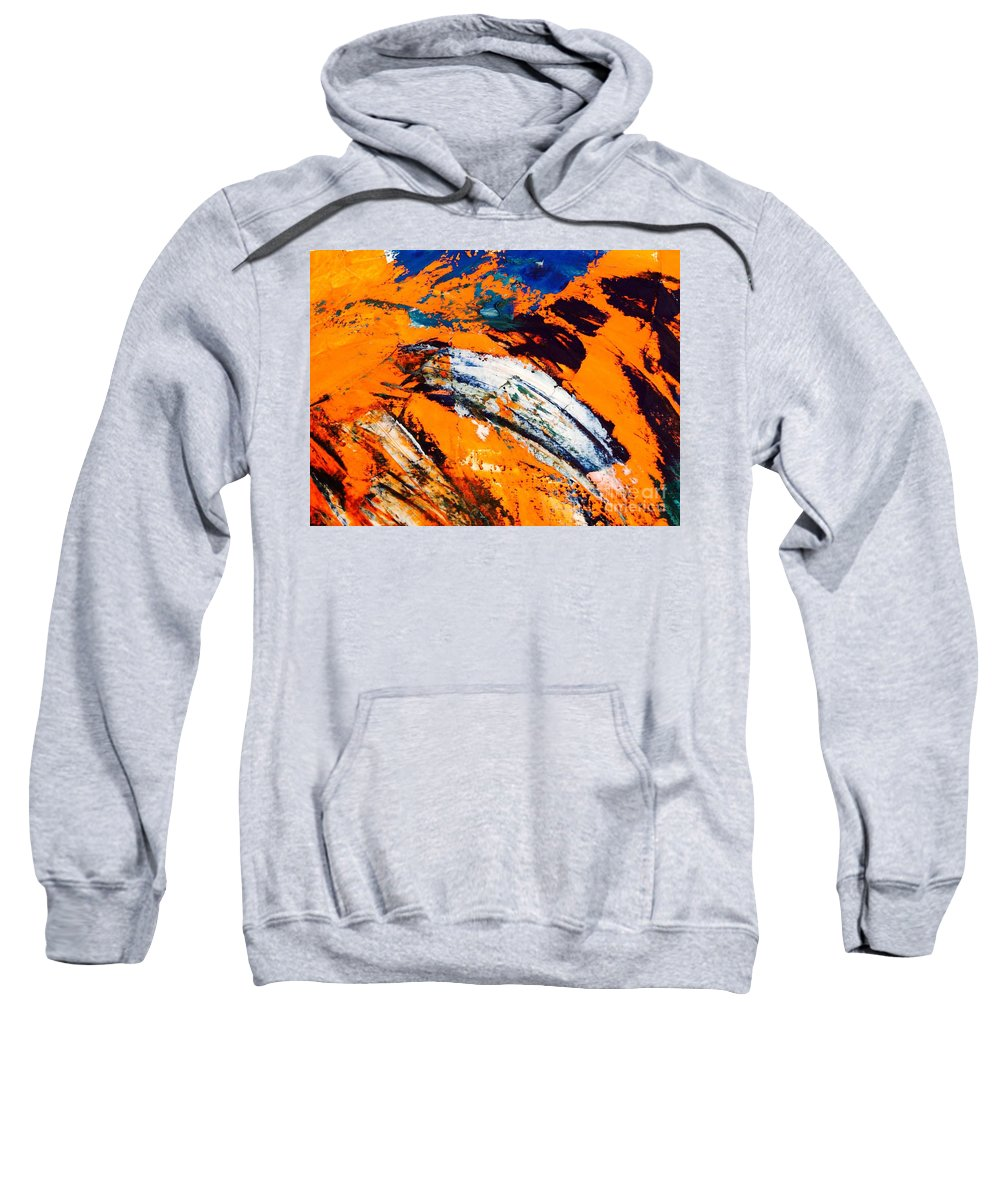 Fire Sweatshirt featuring the painting Fire 2 by Lowkey Luciano