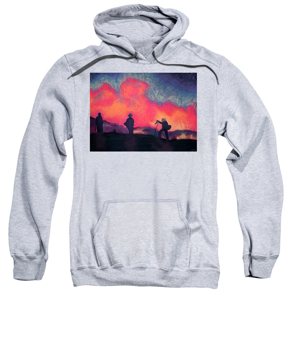 Fire Crews Sweatshirt featuring the drawing Fire Crew by Joshua Morton