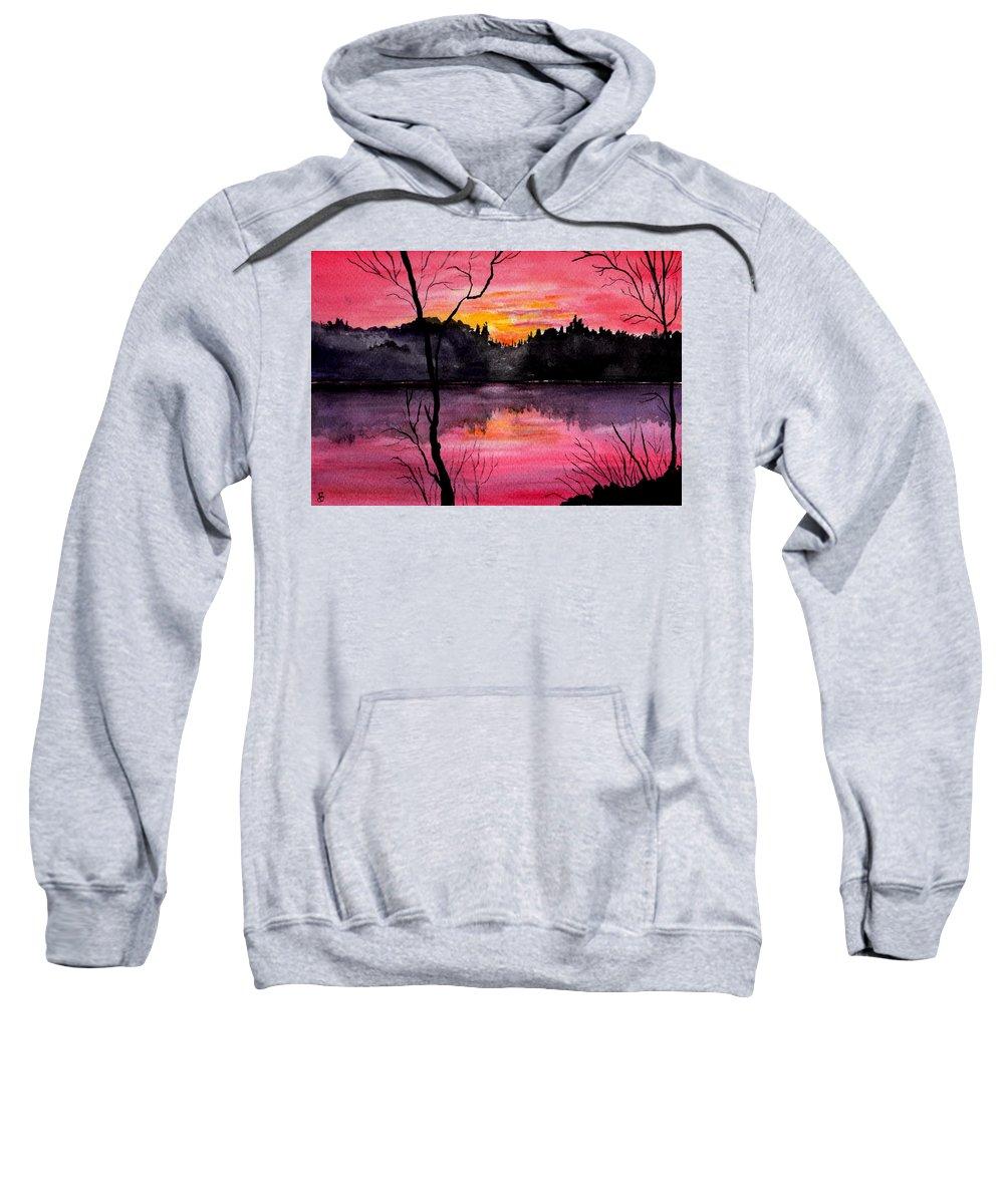 Landscape Sweatshirt featuring the painting Fire In The Sky  Lake Arrowhead Maine by Brenda Owen