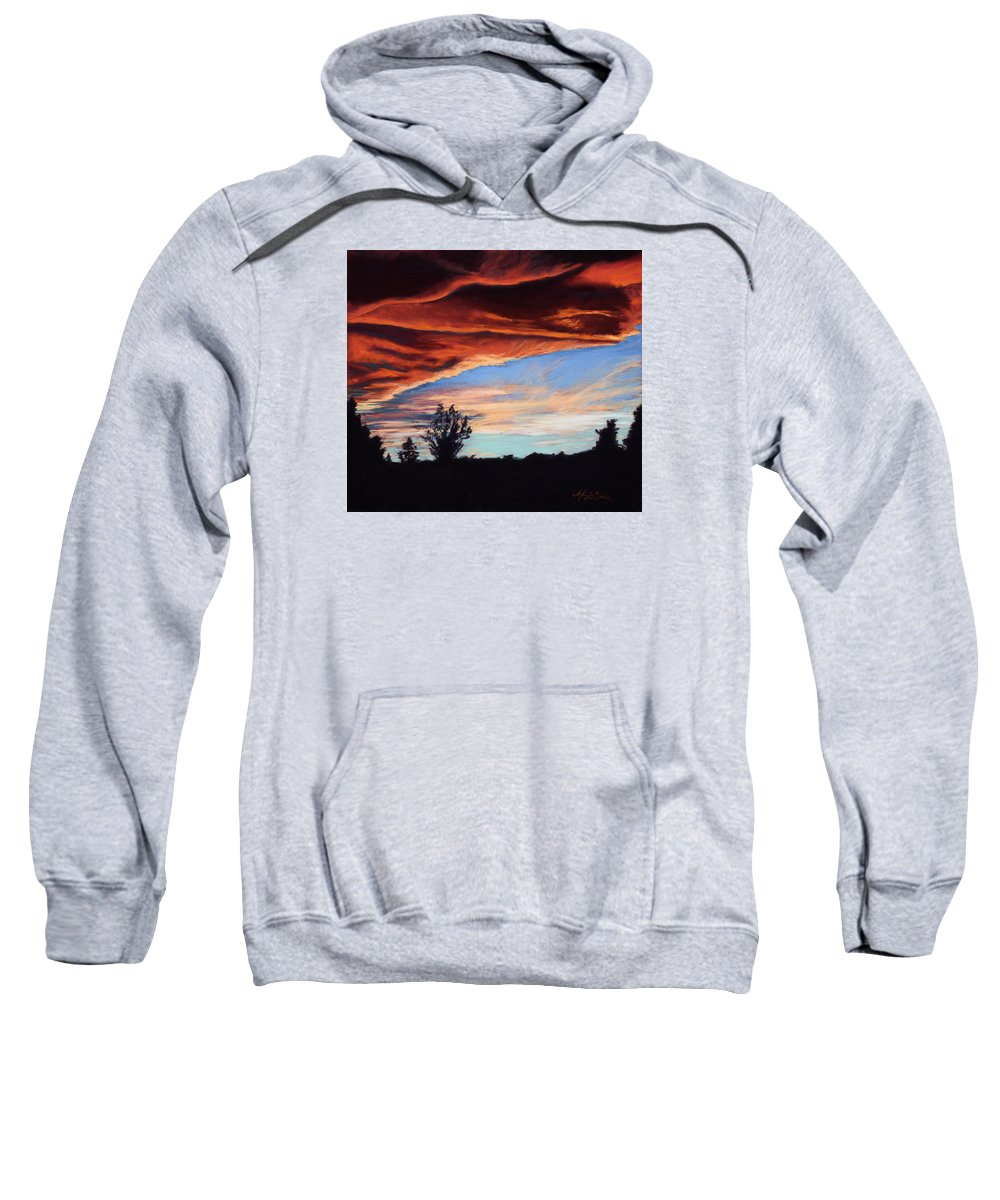 Sunset Sweatshirt featuring the painting Fire In The Sky by Mary Benke
