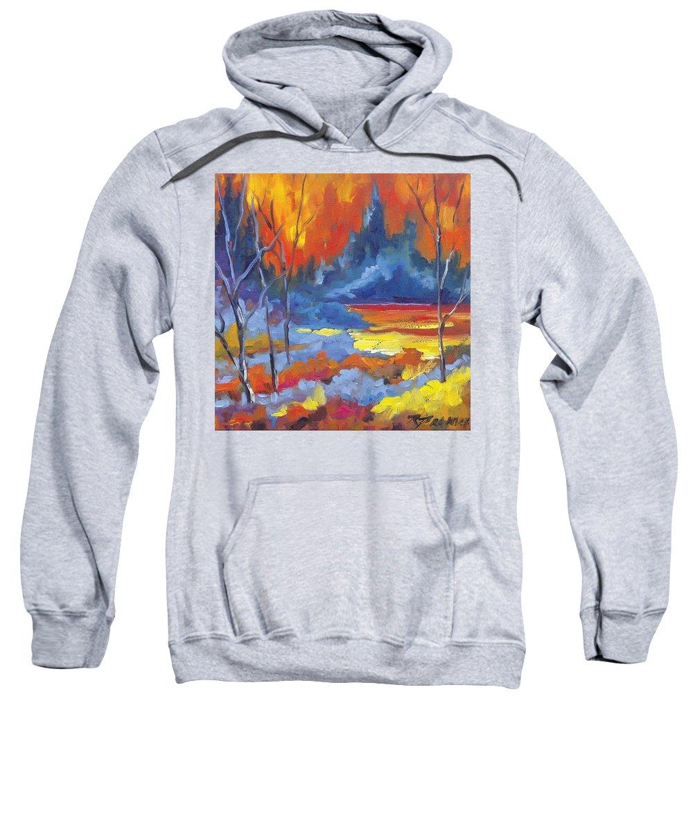 Art Sweatshirt featuring the painting Fire Lake by Richard T Pranke