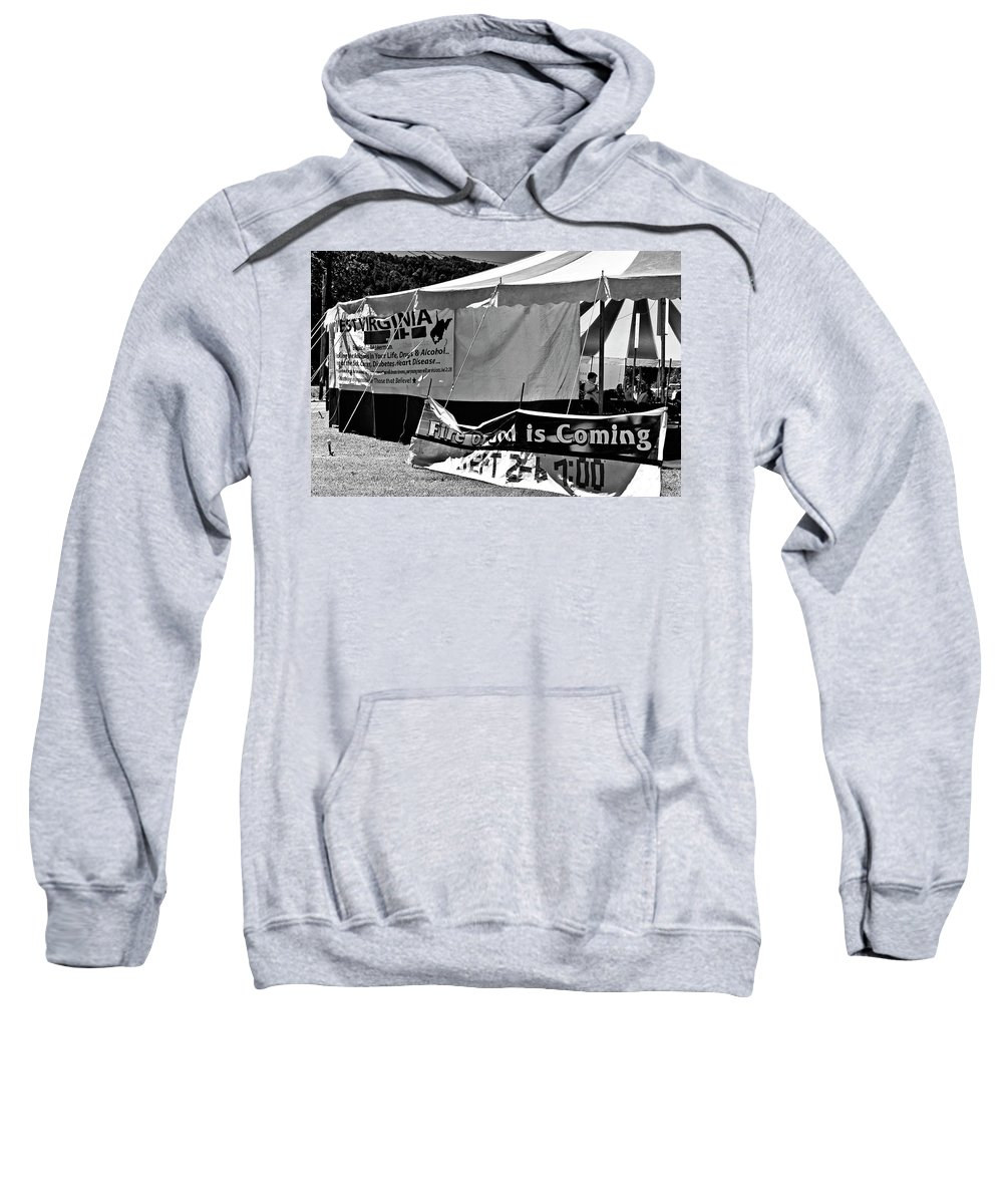 Revival Sweatshirt featuring the photograph Fire Of God Is Coming Bw by Steve Harrington