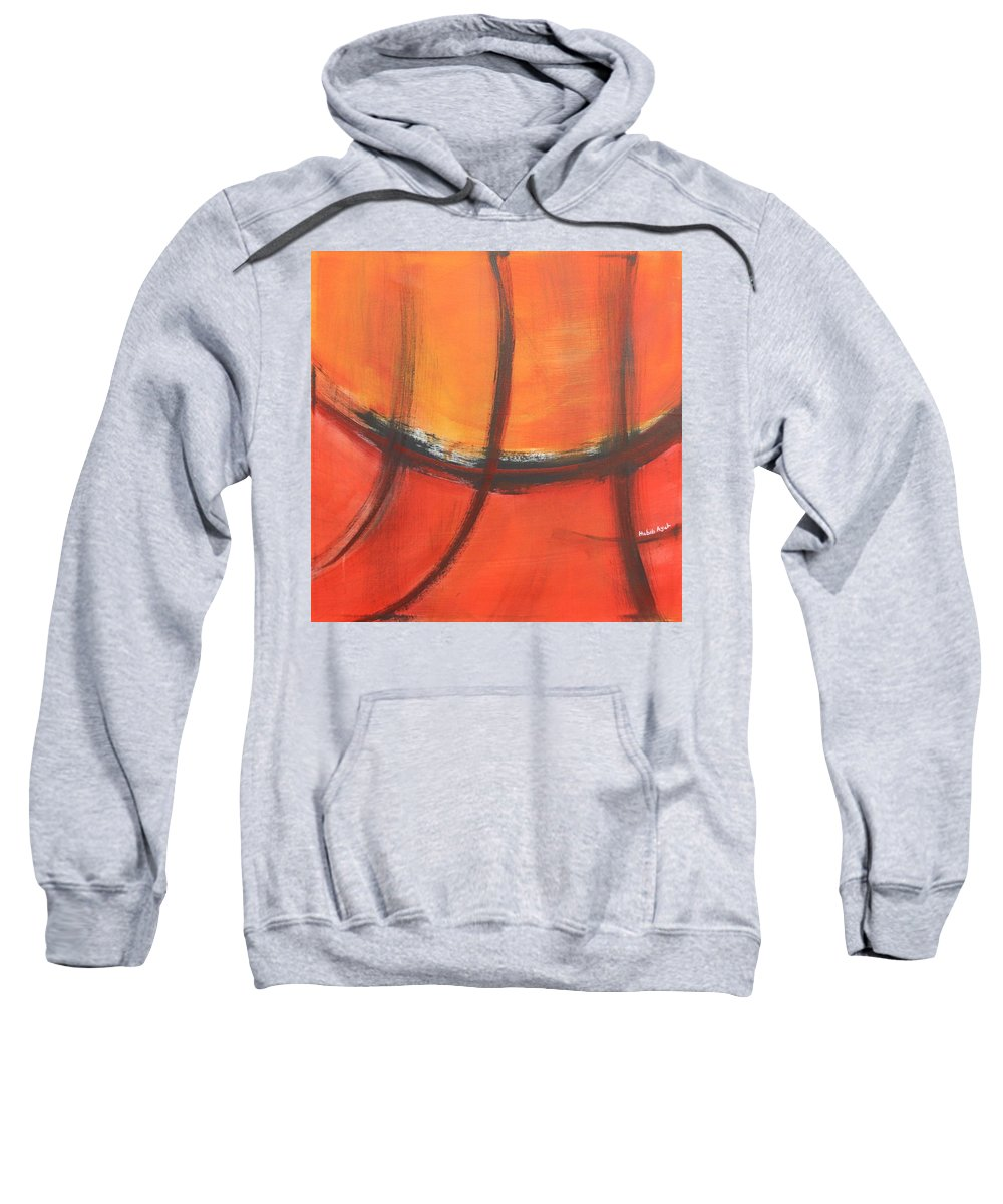Abstract Sweatshirt featuring the painting Fire Red by Habib Ayat
