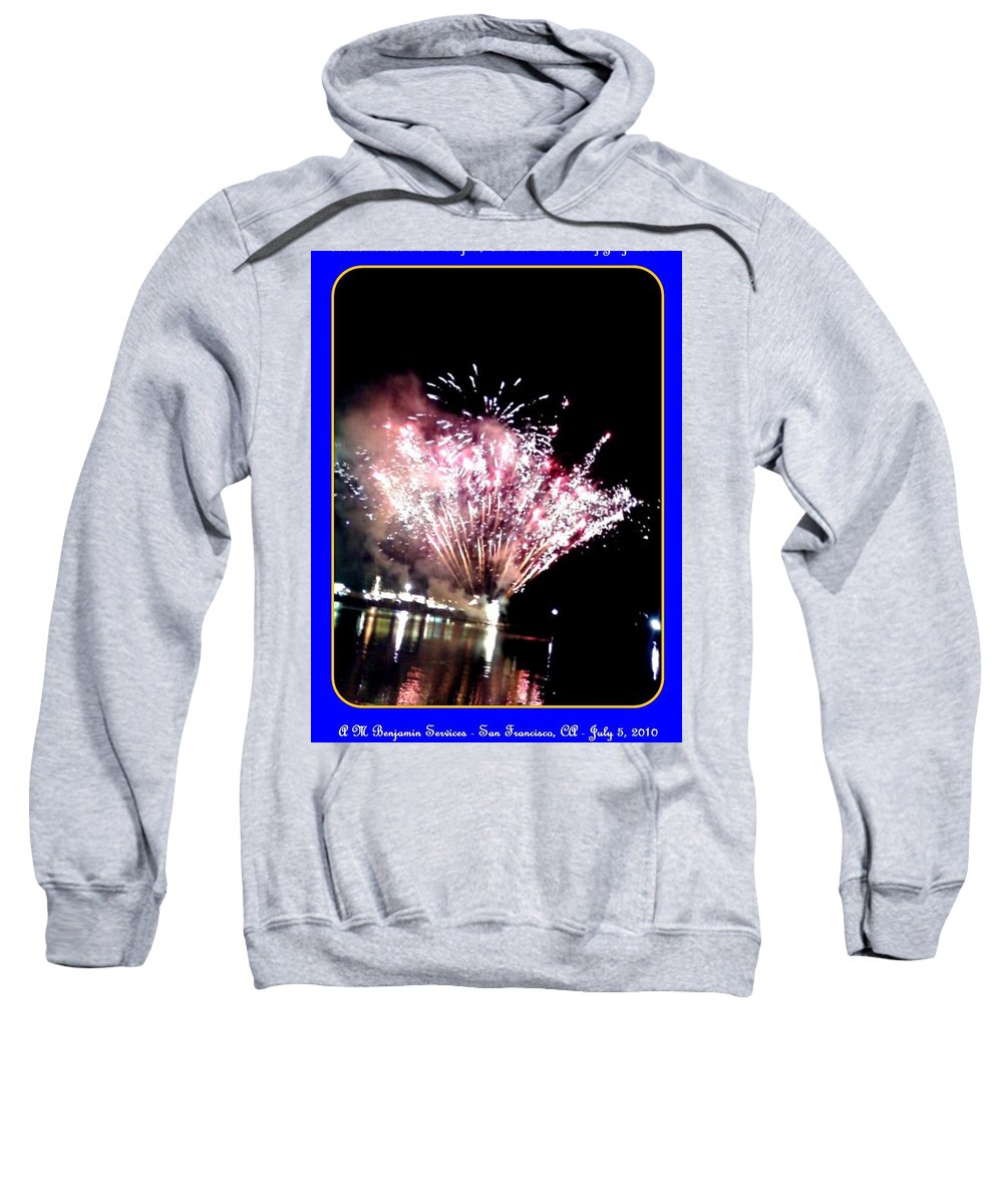 Fireworks Sweatshirt featuring the photograph fireworks over San Rafael lake by Anthony Benjamin