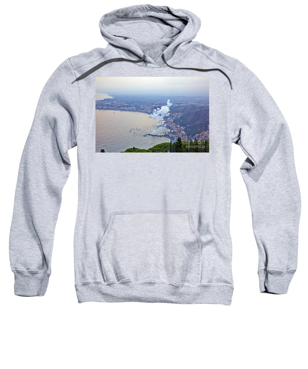 Sweatshirt featuring the photograph Fireworks Over Sicily by Madeline Ellis