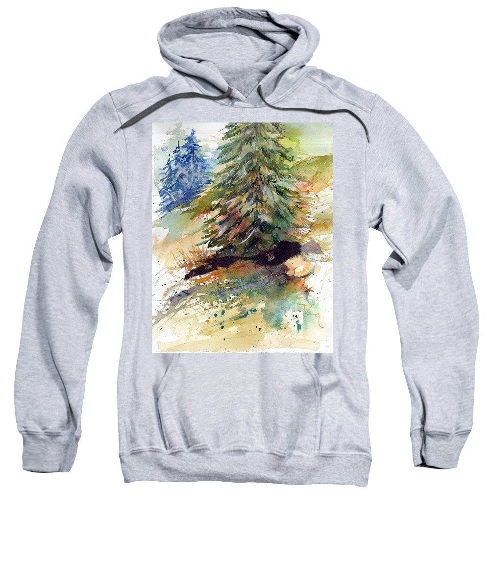 Landscape Sweatshirt featuring the mixed media Firs On The Hill by Mary Lou McCambridge