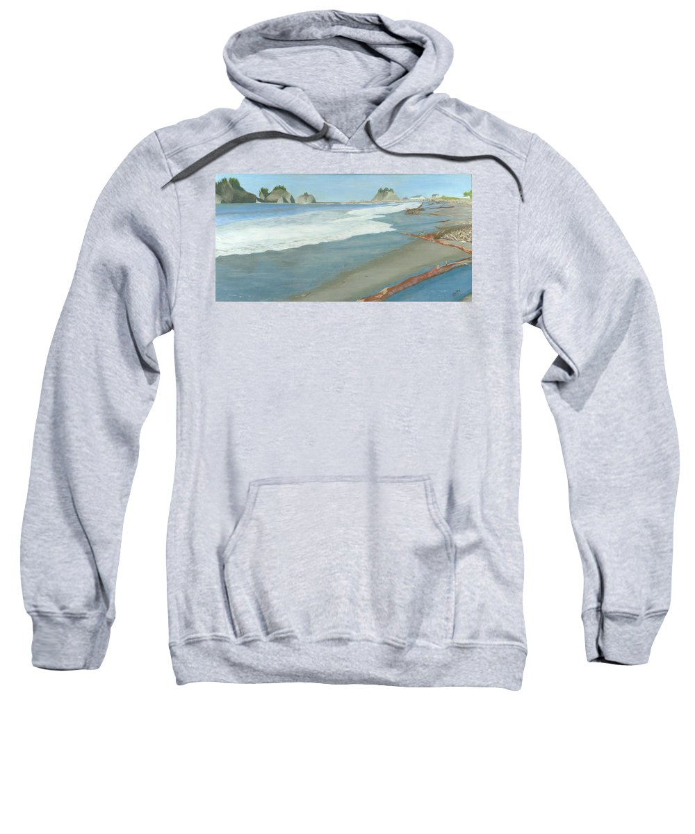 Seascape Sweatshirt featuring the painting First Beach by Deborah Butts