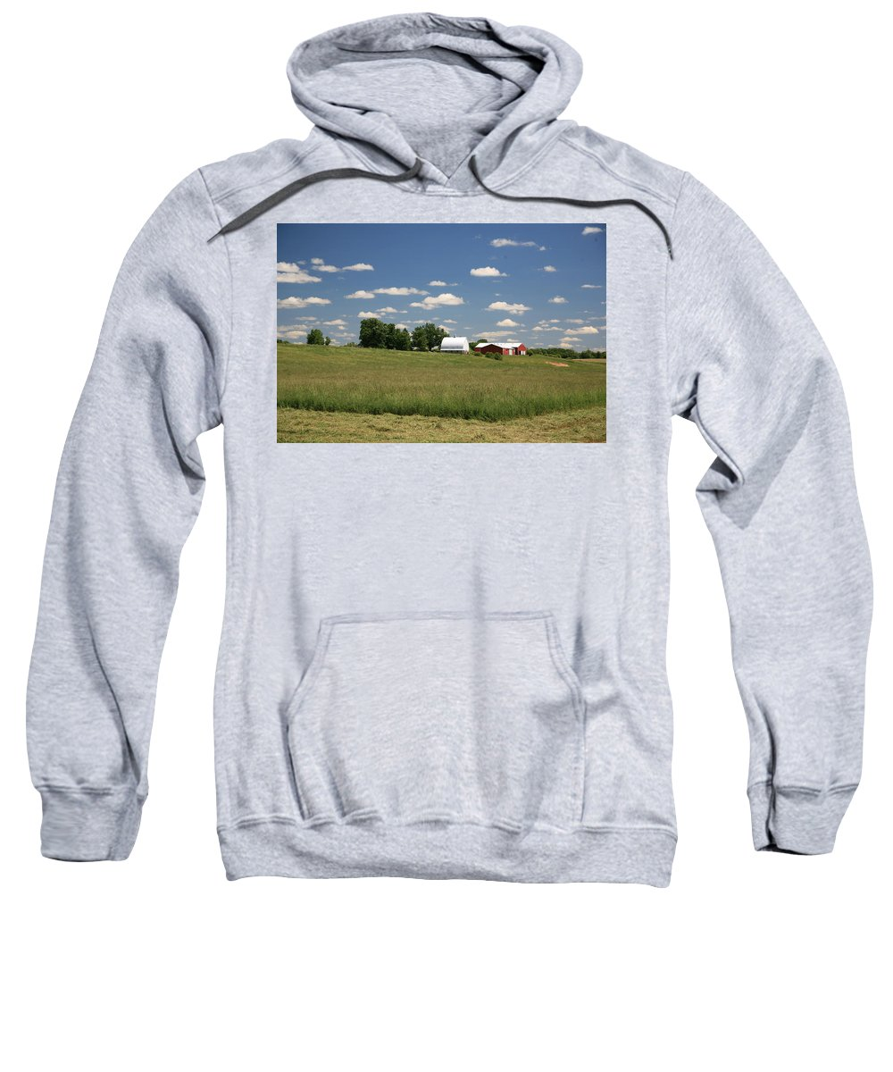 Farm Sweatshirt featuring the photograph First Cutting by Robert Pearson
