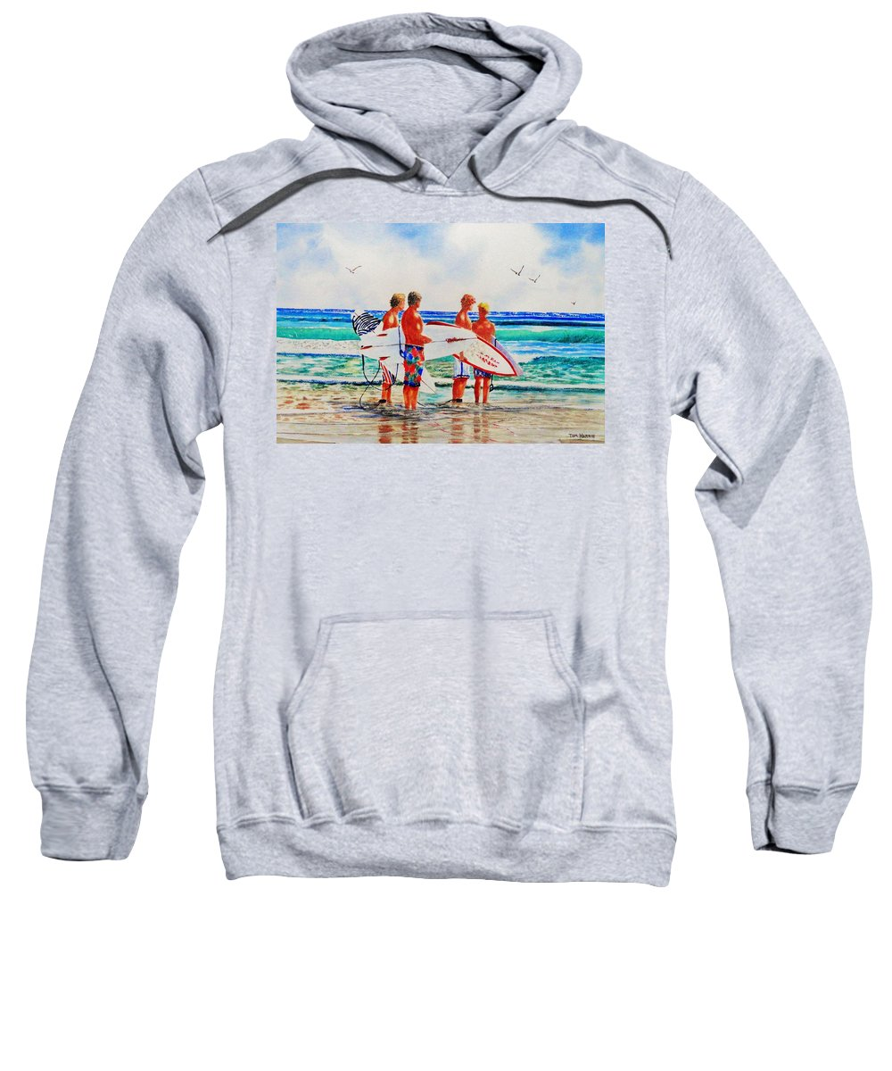 Surfers Sweatshirt featuring the painting First Day Of Summer by Tom Harris