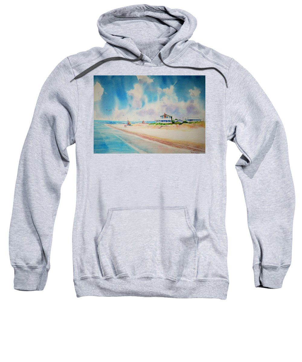 Beach Sweatshirt featuring the painting First Day Of Vacation Is Pricless by Tom Harris