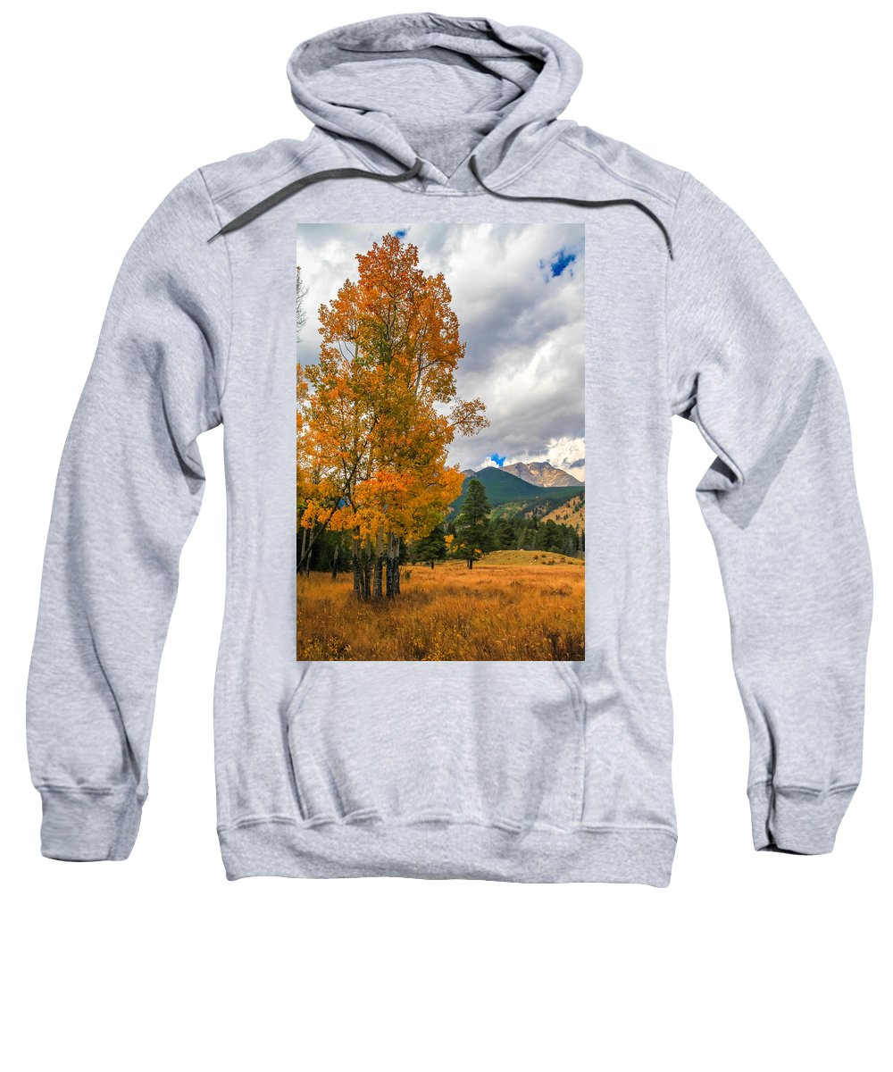 First Fall Colors In Rocky Mountain National Park Sweatshirt featuring the photograph First Fall Colors In Rocky Mountain National Park by Dan Sproul