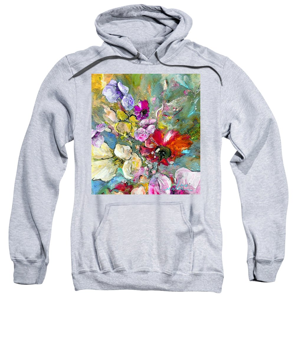 Nature Painting Sweatshirt featuring the painting First Flowers by Miki De Goodaboom