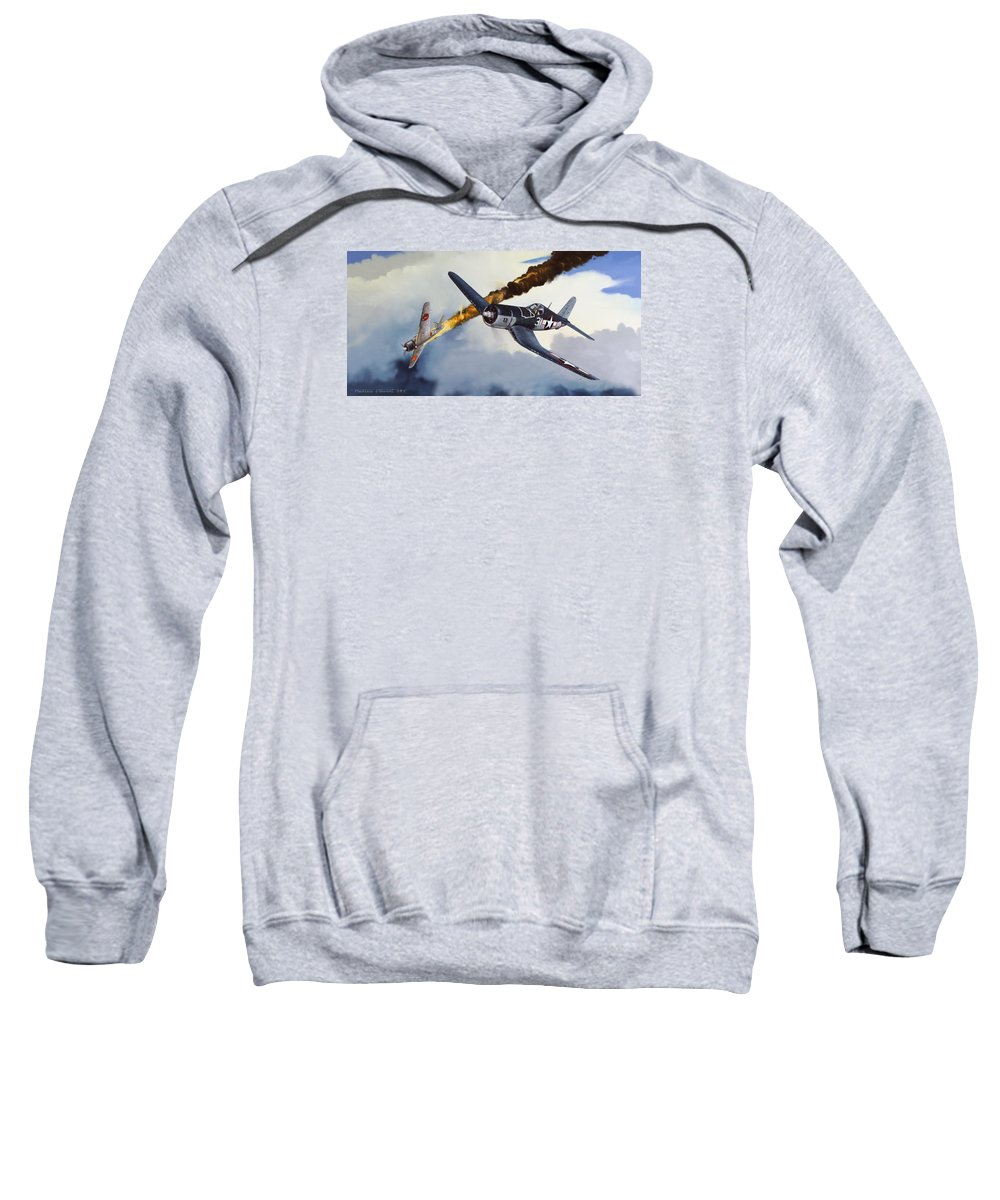 Military Sweatshirt featuring the painting First Kill for the Jolly Rogers by Marc Stewart