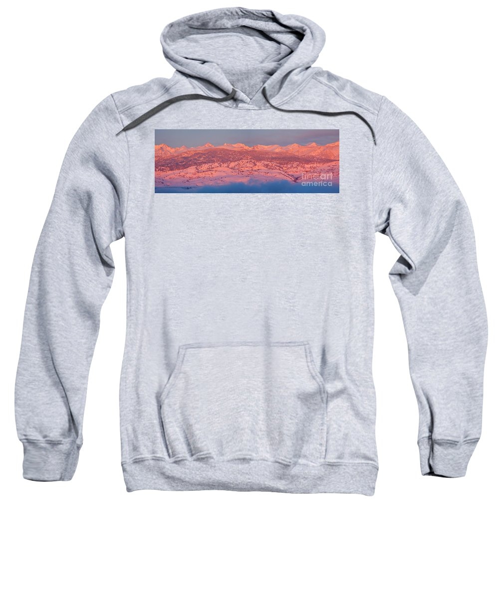 Colorado Sweatshirt featuring the photograph First Light Colorado Rocky Mountains Panorama by James BO Insogna