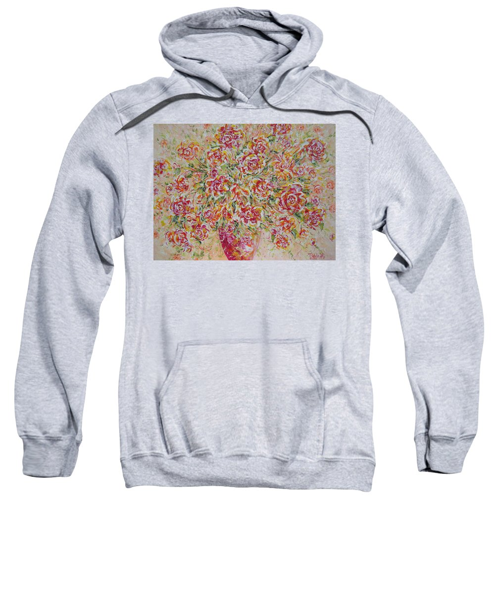 Flowers. Floral Sweatshirt featuring the painting First Love Flowers by Natalie Holland