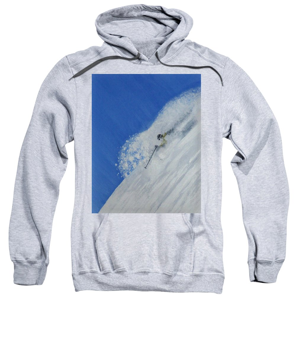 Ski Sweatshirt featuring the painting First by Michael Cuozzo
