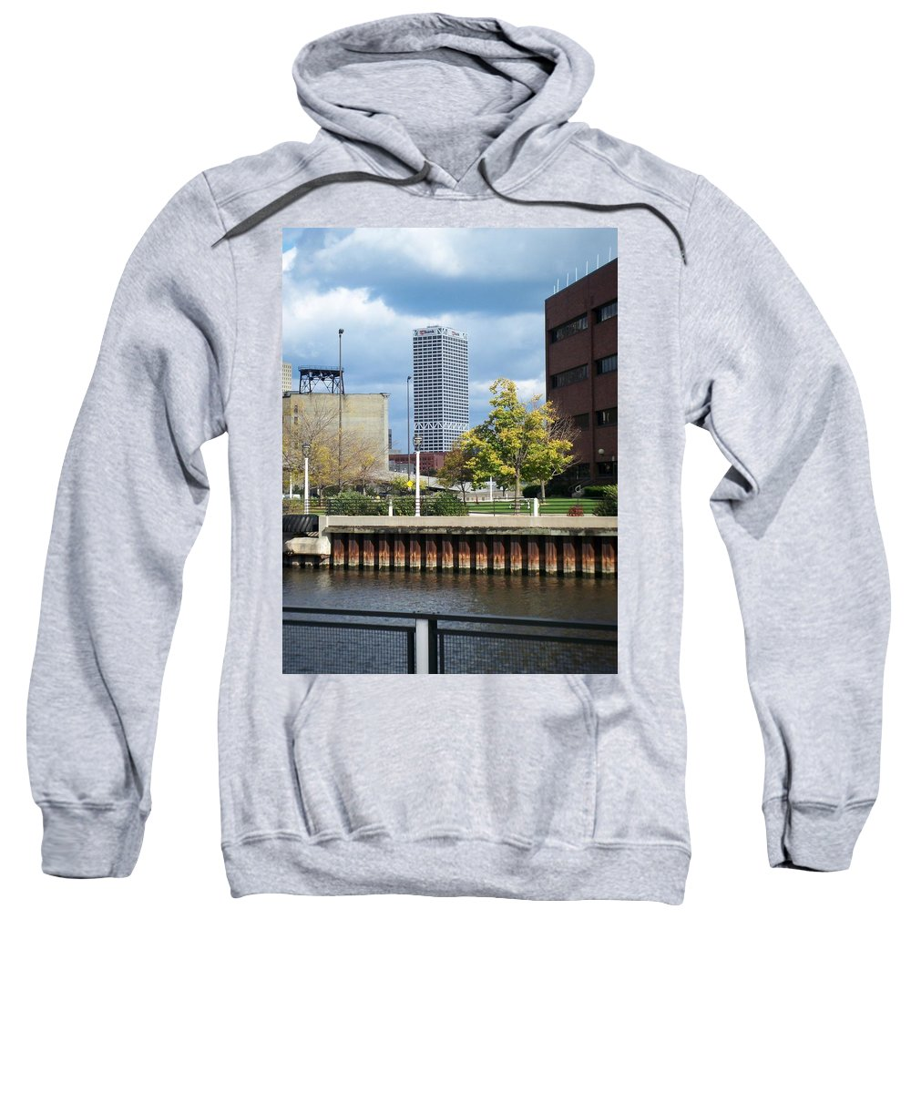 First Star Bank Sweatshirt featuring the photograph First Star Tall View From River by Anita Burgermeister