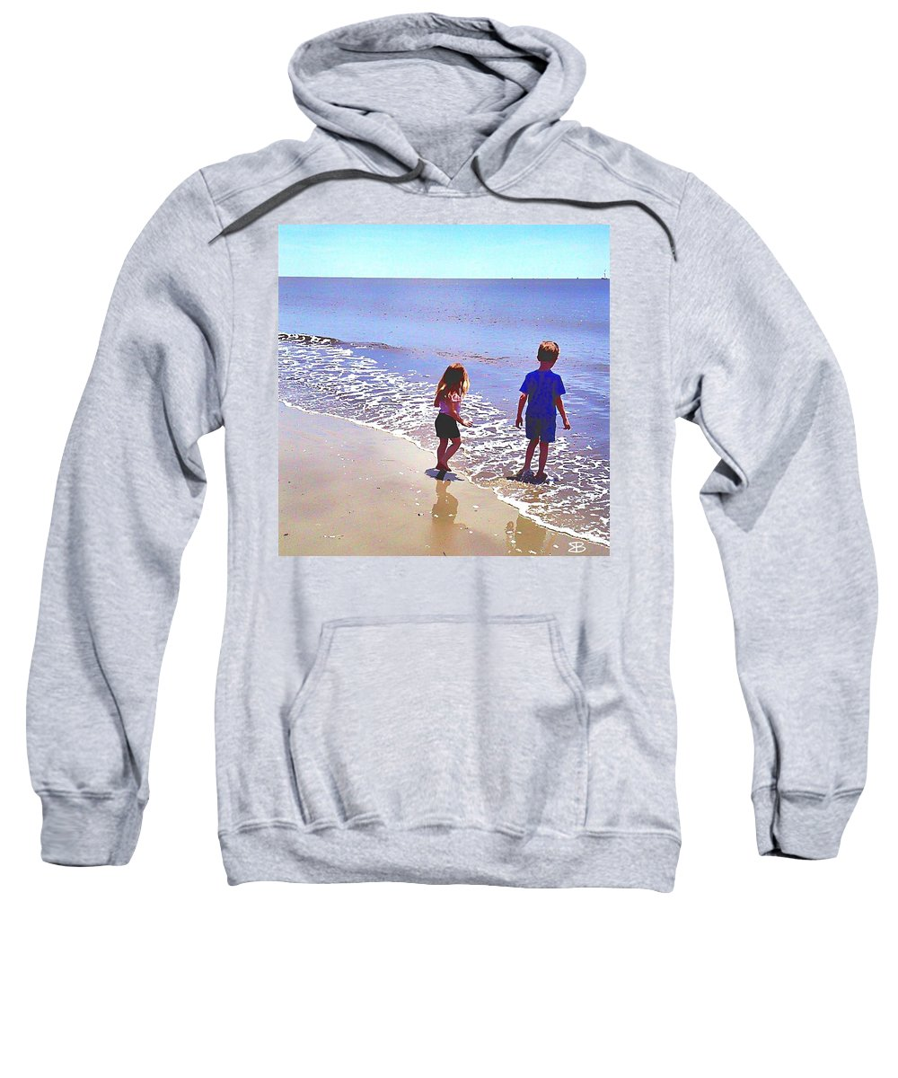Children Sweatshirt featuring the digital art First Time At The Beach by Mark Baranowski