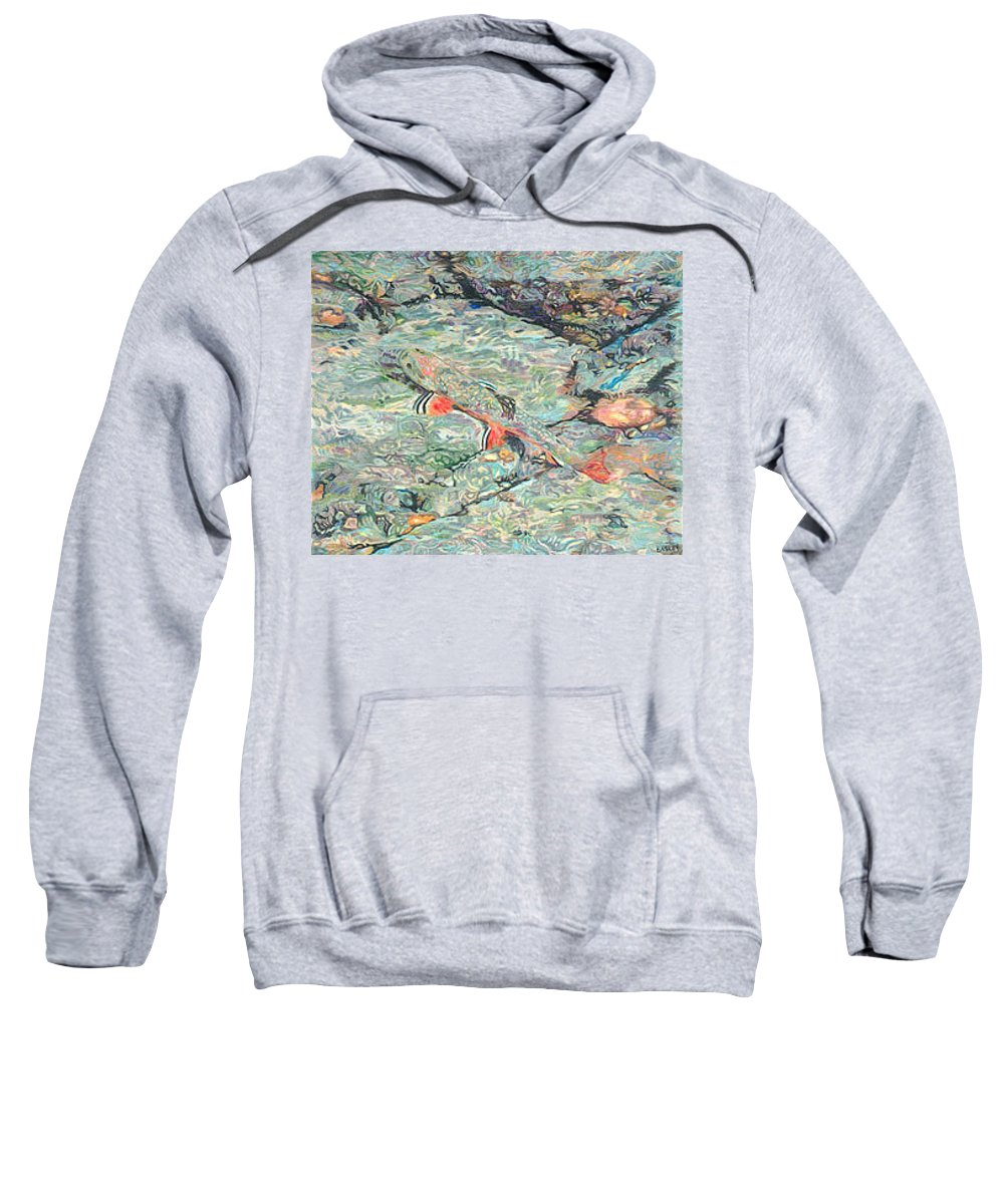 Art Sweatshirt featuring the drawing Fish Art Trout Art Brook Trout Brookie Artwork Nature Underwater Wildlife Creek Art River Art Lake by Baslee Troutman