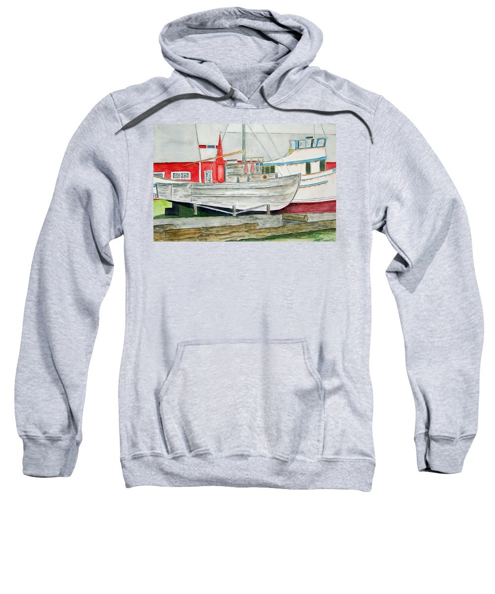 Alaska Art Sweatshirt featuring the painting Fish Out Of Water by Larry Wright