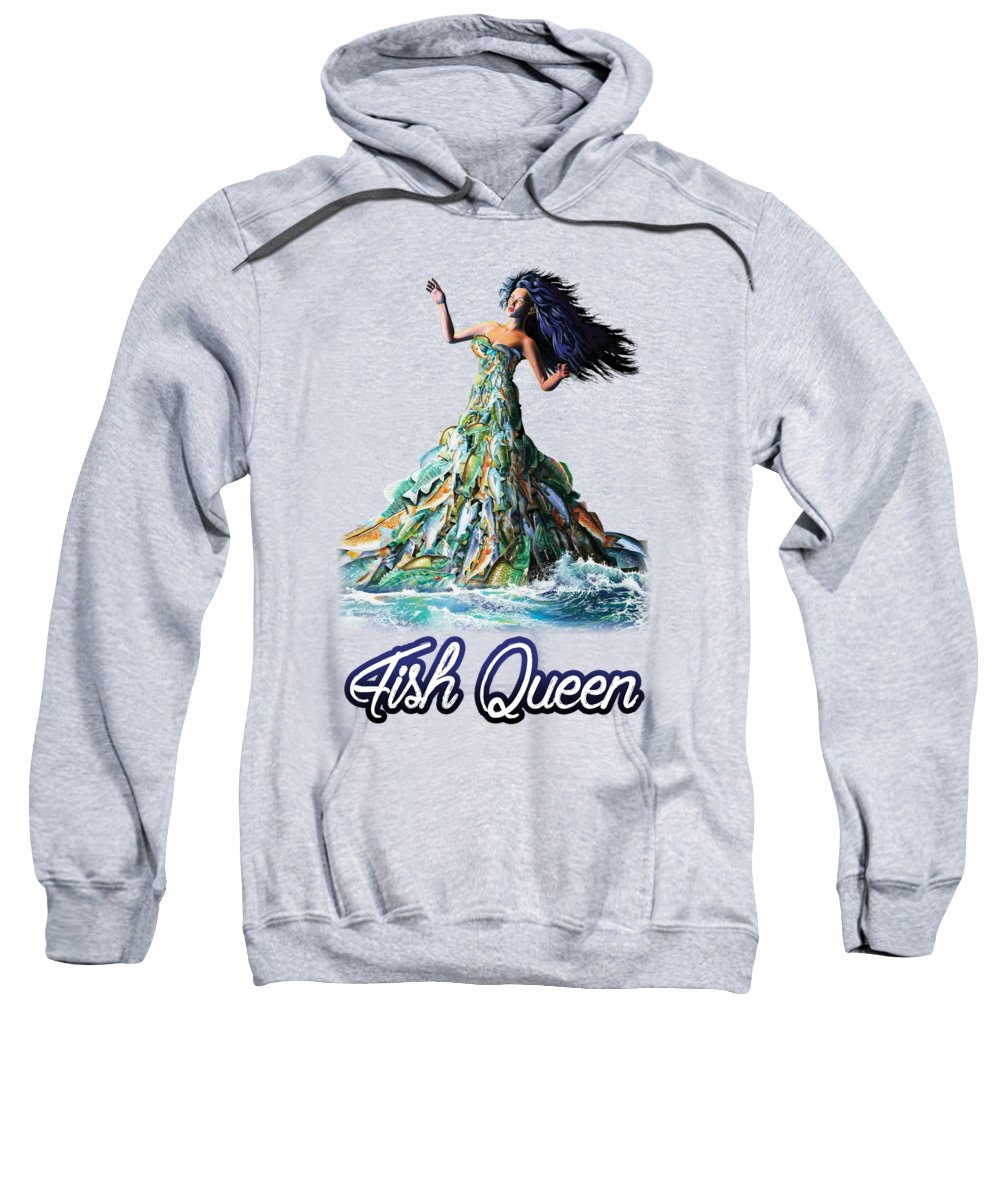 School Sweatshirt featuring the painting Fish Queen by Anthony Mwangi