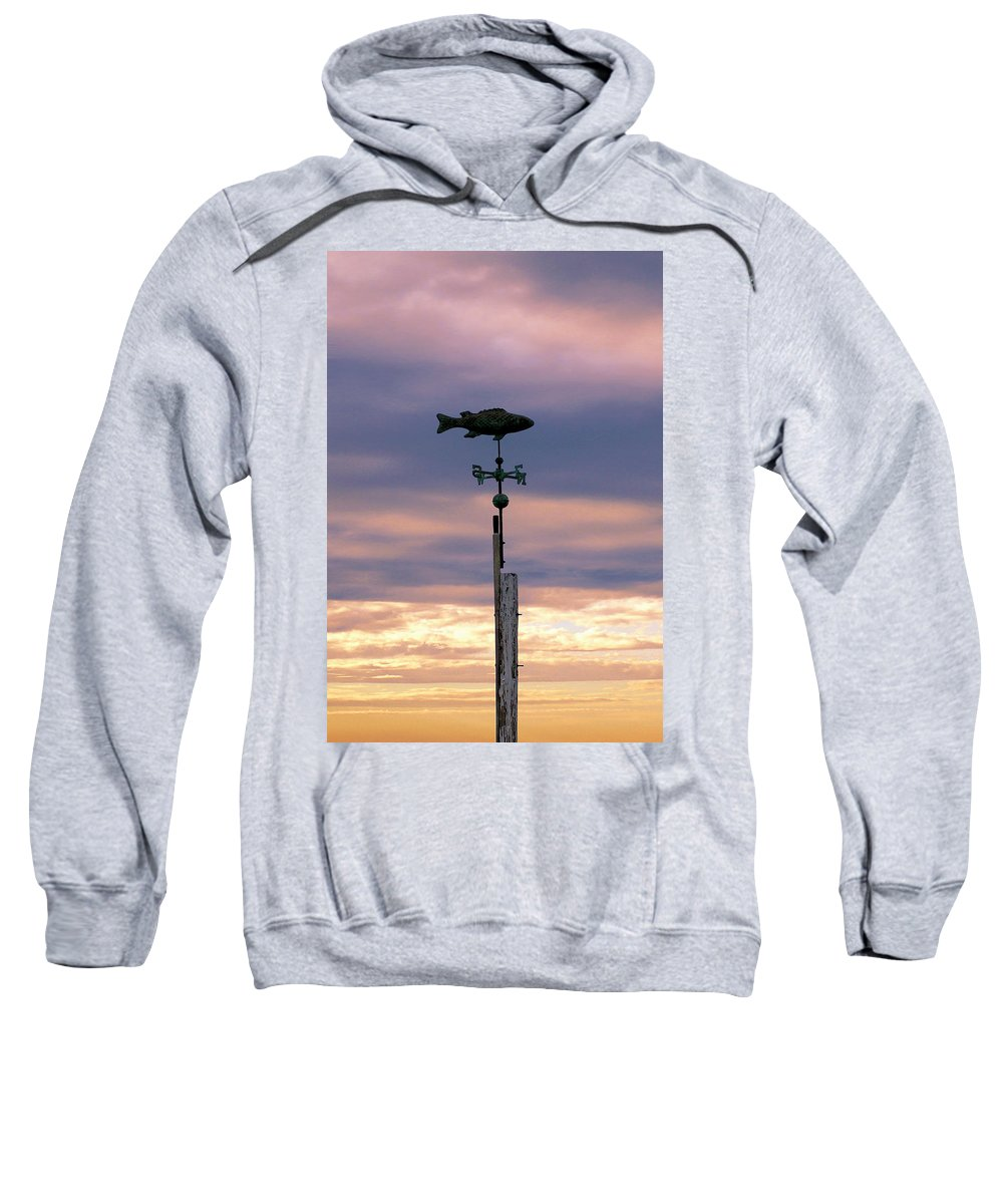 Fish Sweatshirt featuring the photograph Fish Weather Vane At Sunset by Charles Harden