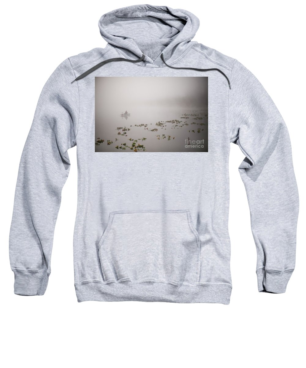 Lake Cassidy Sweatshirt featuring the photograph Fisherman On Lake Cassidy In Fog by Jim Corwin