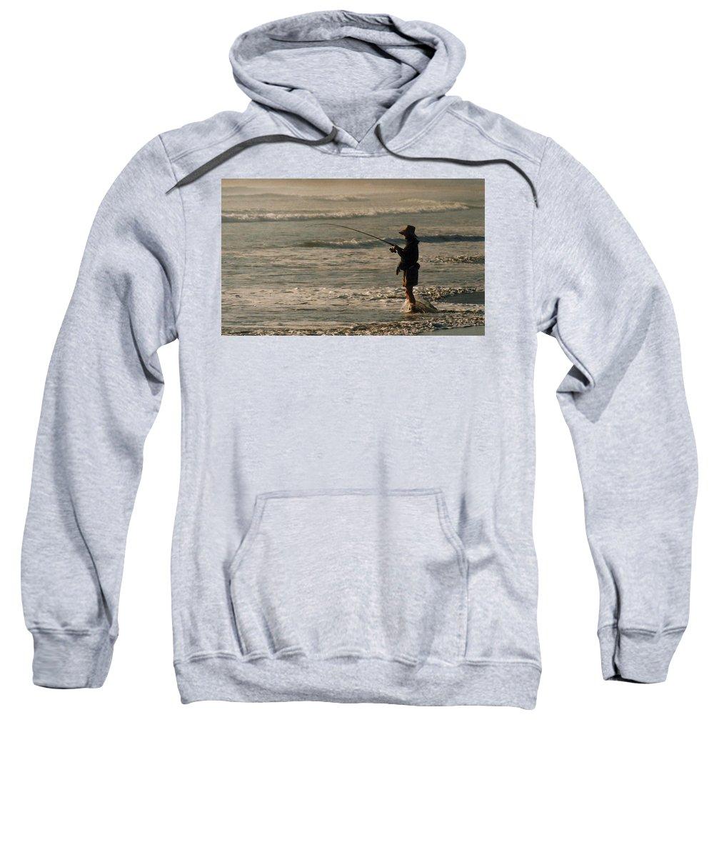 Fisherman Sweatshirt featuring the photograph Fisherman by Steve Karol